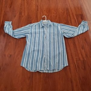 Mens Striped Blue and White Button Down Shirt